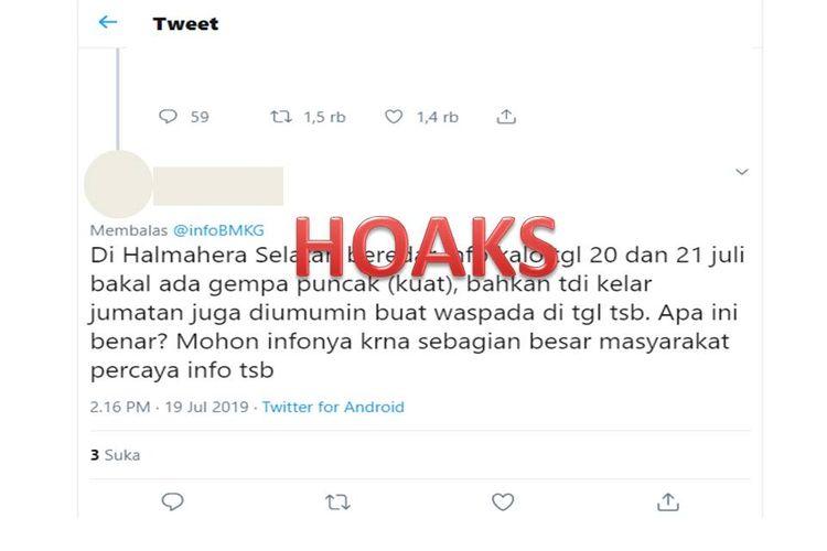 Tangkapan layar terkait informasi akan terjadi gempa bumi di Halmahera Selatan.