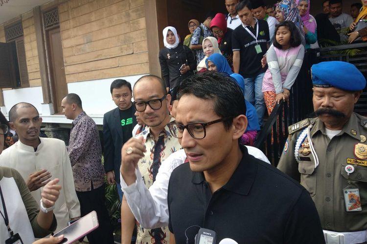 Wakil Gubernur DKI Jakarta Sandiaga Uno di Perkampungan Budaya Betawi Setu Babakan, Jagakarsa, Jakarta Selatan, Sabtu (3/3/2018).