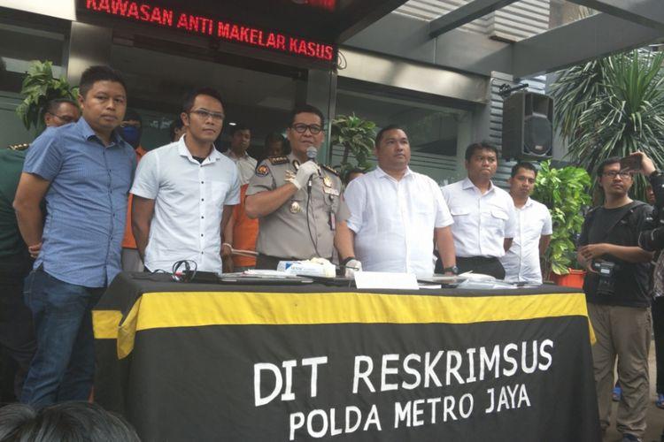 Rilis kasus peretasan website oleh kelompok Surabaya Black Hat di Mapolda Metro Jaya, Selasa (13/3/2018).