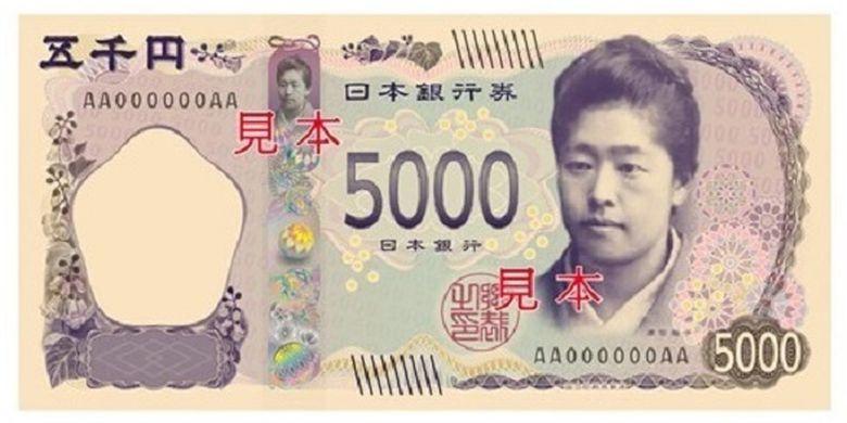 Penggagas pendidikan untuk kaum wanita Jepang, Umeko Tsuda, pada sisi depan uang kertas 5.000 yen yang baru.