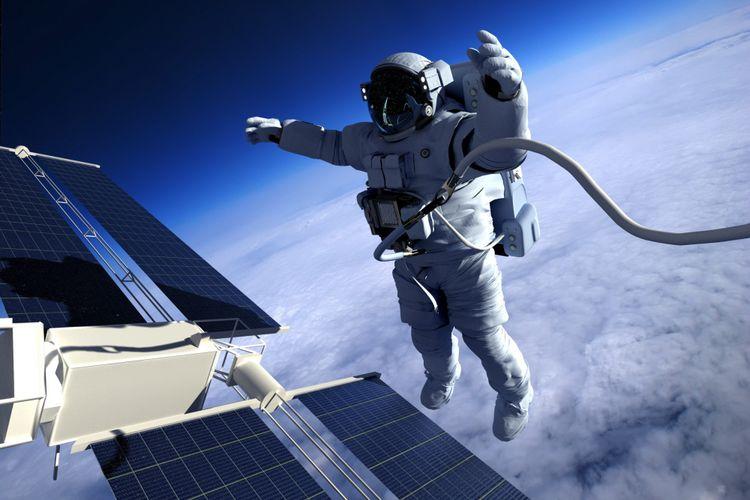 Ilustrasi astronot di luar angkasa