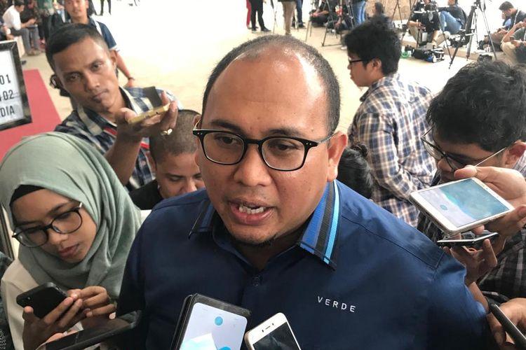 Juru Bicara Badan Pemenangan Nasional (BPN) Prabowo Subianto-Sandiaga Uno, Andre Rosiade, di Hotel Sultan, Jakarta, pada Minggu (17/3/2019).