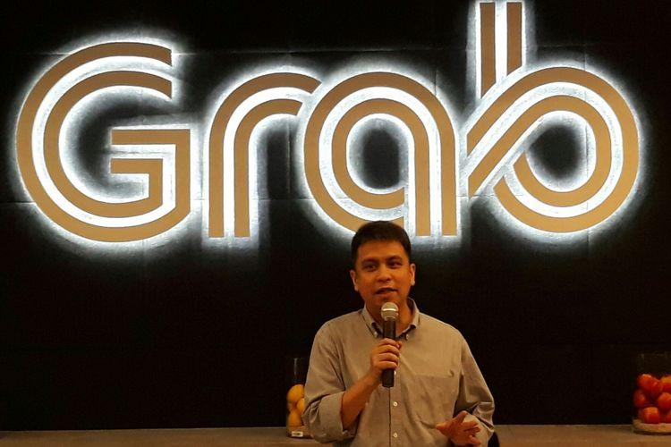 Managing Director Grab Indonesia Ridzki Kramadibrata di Kantor Grab Indonesia, Jakarta, Jumat (6/4/2018).