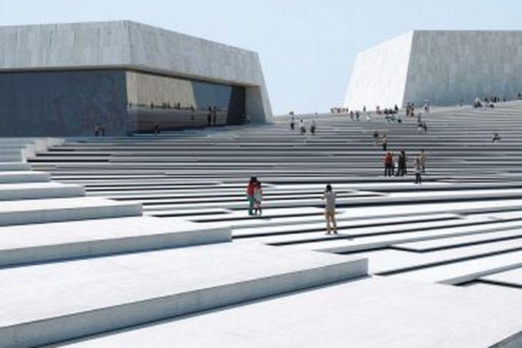 Gedung ini dirancang dengan beberapa panggung pertunjukan.