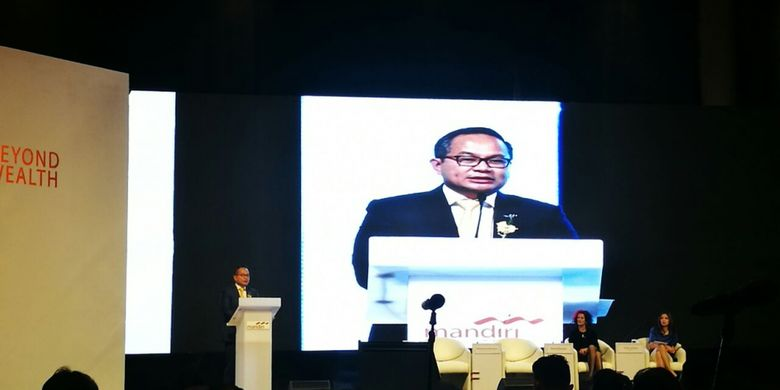 Direktur Utama Bank Mandiri, Kartika Wirjoatmodjo dalam sebuah Seminar di Hotel Ritz Carlton, Jakarta, Selasa (26/9/2017).