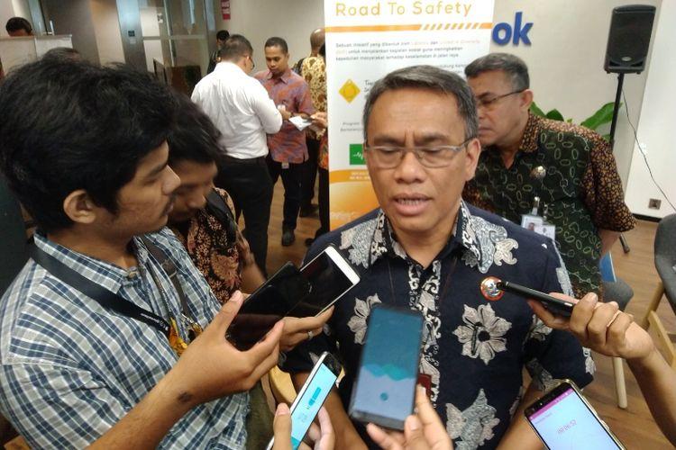 Direktur Operasional Jasa Raharja Amos Sampetoding di Jakarta, Jumat (21/9/2018).
