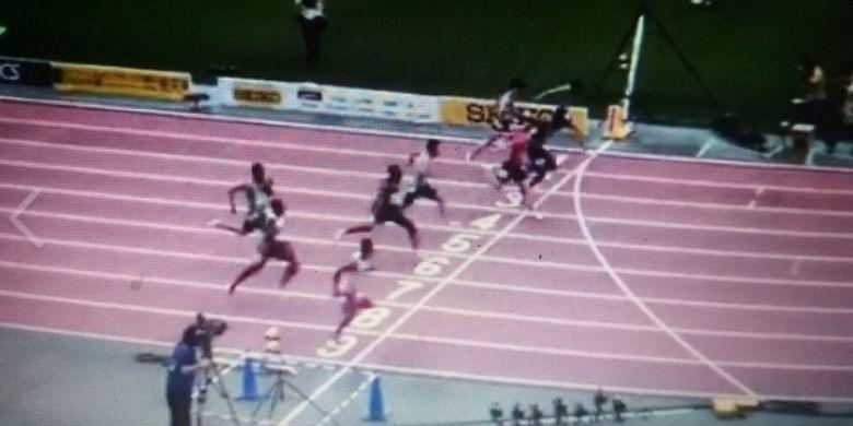 lalu Muhammad Zohri (line 9) tampil gemilang pada kejuaraan Seiko Golden Grand Prix 2019 di Osaka, Jepang, Minggu dengan finis di urutan ketiga dan mempertajam rekor nasional (rekornas) lari 100 meter.