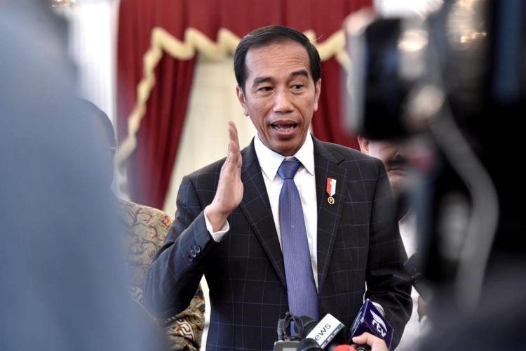Presiden Joko Widodo ketika memberikan keterangan pers di Istana Merdeka, Sabtu 16 Februari 2019, terkait dukungan terhadap anak muda yang memiliki inovasi dan kreativitas.