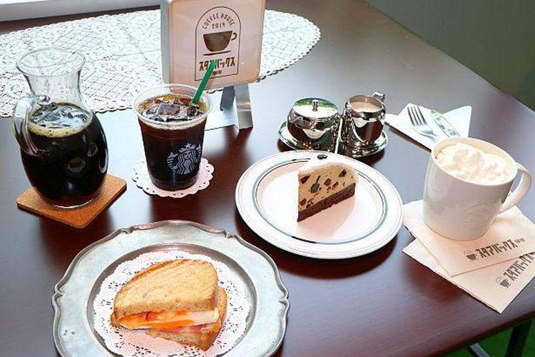 Dari Kiri ke Kanan: Cold Brew Coffee, Ham and Egg Hot Sandwich, Coffee Jelly Cake, dan Wiener Coffee