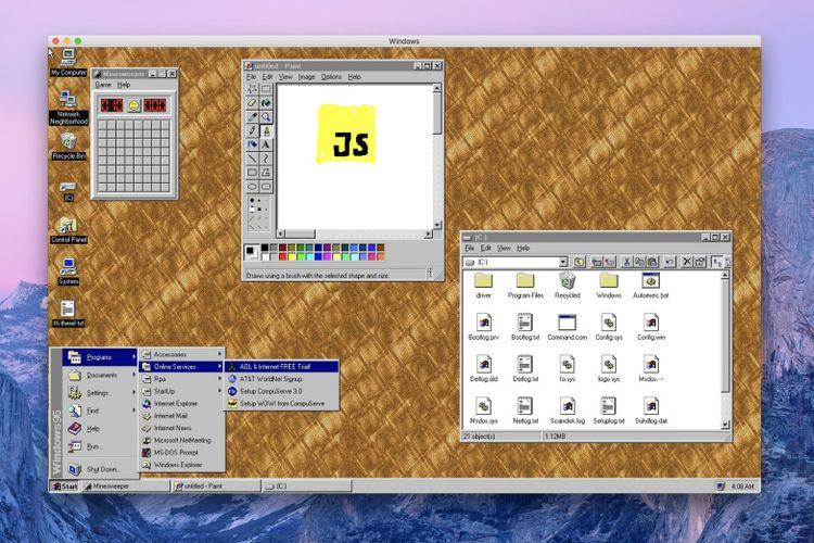 Tangkapan layar aplikasi Windows 95