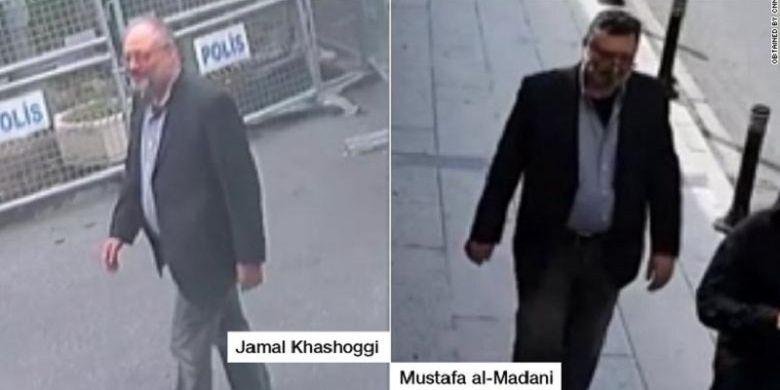 Potongan rekaman kamera pengawas memperlihatkan Jamal Khashoggi (kiri) ketika memasuki gedung konsulat di Istanbul, Turki. Sedangkan foto kanan adalah pelaku yang mengenakan pakaian sama dengan Khashoggi beberapa jam setelah jurnalis 60 tahun itu memasuki gedung.(via CNN)