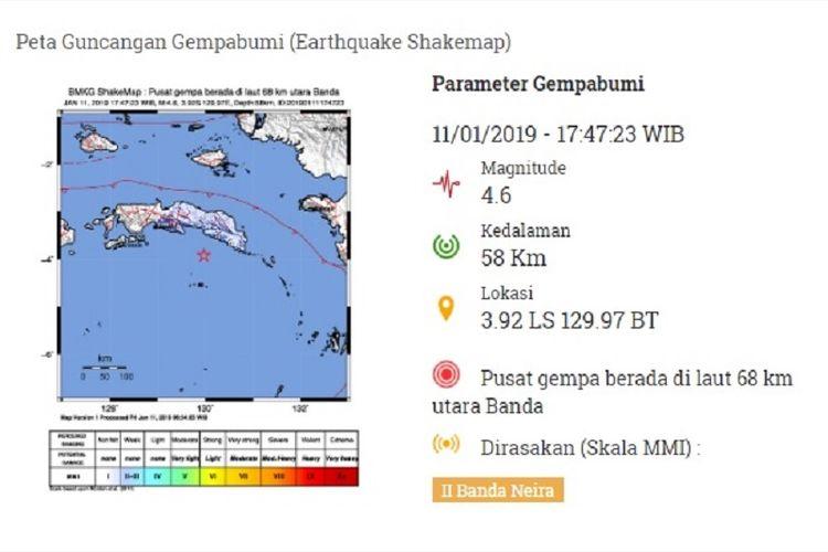 Peta guncangan gempa M 4,6 Banda Neira