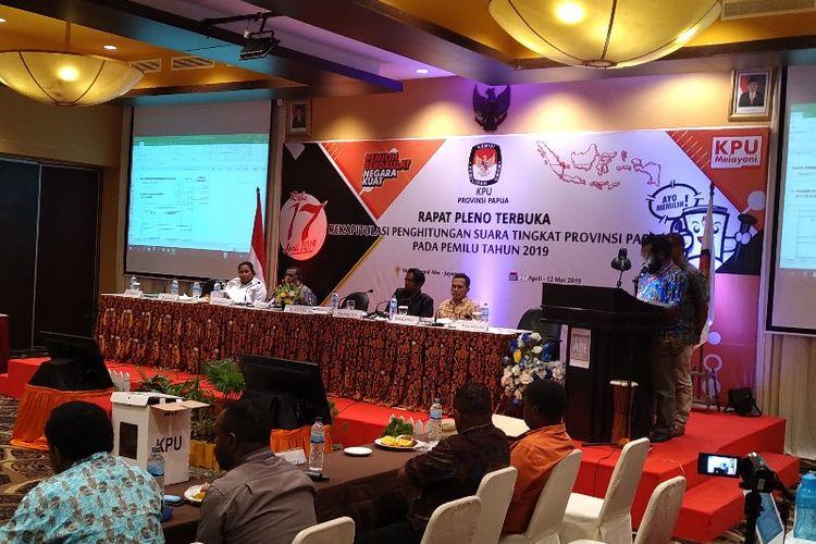 Pelaksanaan Rapat Pleno Terbuka Rekapitulasi Suara Provinsi Papua pada Pemilu 2019, di Kota Jayapura (14/5/2019)