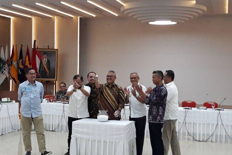 Pengundian debat kelima pilpres di Kantor KPU, Menteng, Jakarta Pusat, Selasa (26/2/2019).