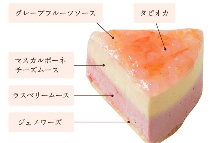 Dari kanan atas searah jarum jam: tapioka, saus jeruk bali, mascarpone cheese mousse, raspberry mousse, genoise