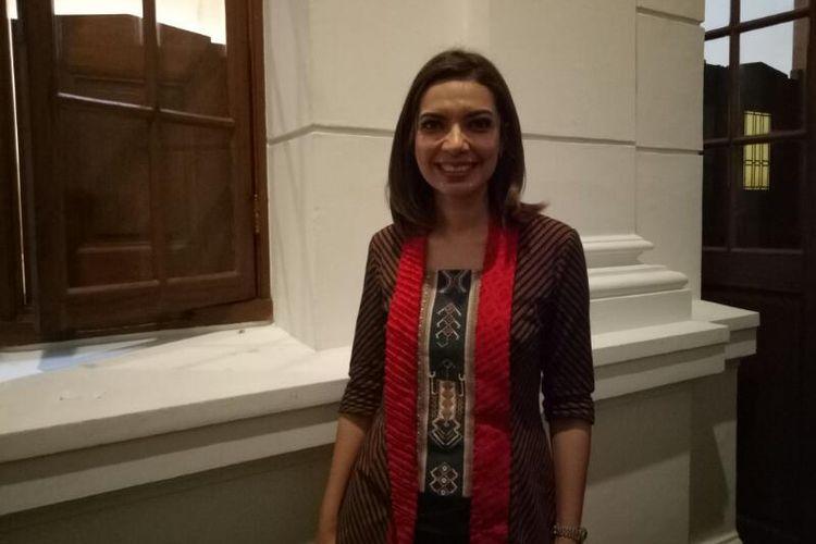 Presenter Najwa Shihab diabadikan saat ditemui pada acara Panggung Para Perempuan Kartini, di Museum Bank Indonesia, Jakarta Barat, Selasa (11/4/2017).