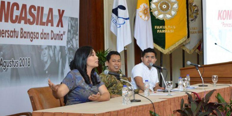 Dalam Kongres Pancasila, UGM menggelar diskusi panel bertema Pancasila dan Generasi Muda yang menghadirkan beberapa tokoh muda untuk berbagi pandangan mereka tentang Pancasila (24/8/2018).