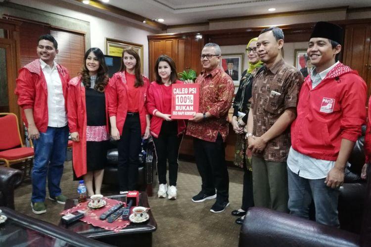 PSI melakukan pertemuan dengan Ketua KPU Arief Budiman, di KPU Pusat, Jakarta, Rabu (18/4/2018)