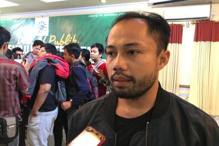Koordinator Divisi Korupsi Politik Indonesia Corruption Watch (ICW) Donal Fariz di Kantor Pimpinan Pusat Muhammadiyah, Jakarta Pusat, Selasa (4/9/2018).