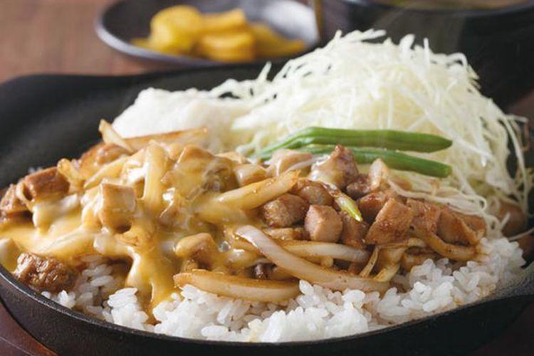 Porco Rice seharga 780 yen adalah pilihan menu lezat dengan daging dan keju.