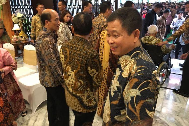 Menteri Energi dan Sumber Daya Mineral (ESDM) Ignasius Jonan saat menghadiri halal bihalal di gedung Kementerian ESDM, Jakarta Pusat, Jumat (22/6/2018).