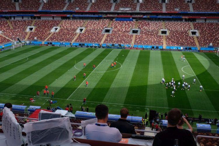 Timnas Rusia melakoni latihan terbuka jelang laga melawan Arab Saudi di Stadion Luzhniki, 12 Juni 2018.
