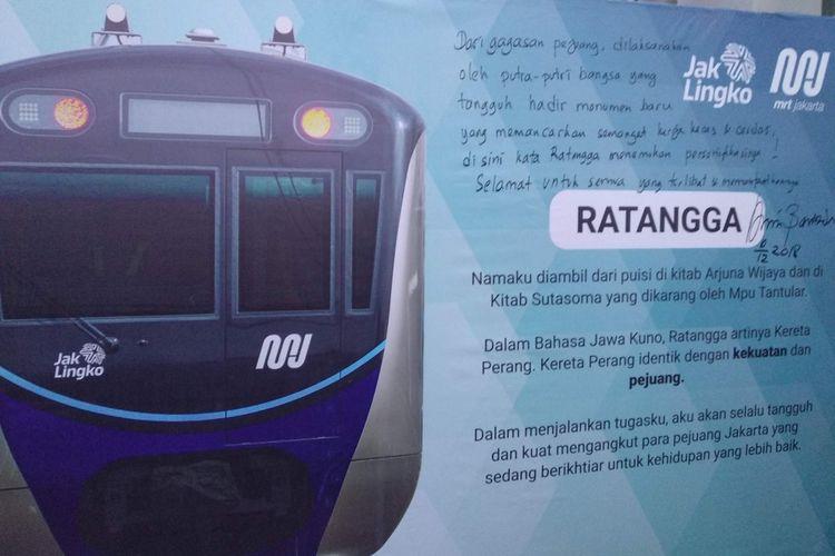 Peluncuran Ratangga, nama baru kereta moda raya terpadu (MRT) di depo Lebak Bulus, Senin (10/12/2018).