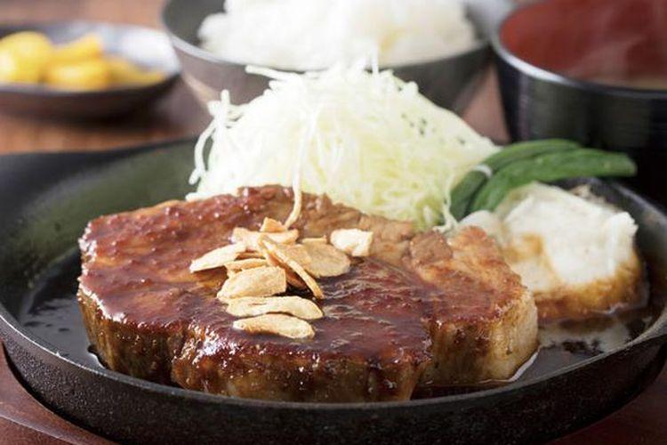 Teppan Tonteki Set yang dijual seharga 1.660 yen per 300 gram nya.