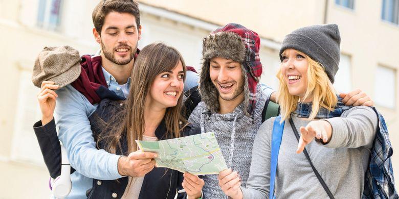 Ilustrasi travelling bersama teman