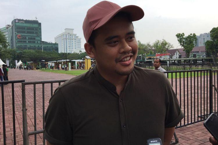 Menantu Presiden Joko Widodo, Bobby Nasution, bercerita tentang bisnis kafe kopi miliknya saat ditemui di acara Makerfest 2018, Kota Medan, Sumatera Utara, Sabtu (7/4/2018).