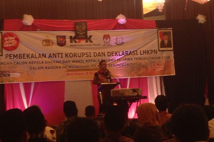 Mendagri Tjahjo Kumolo saat memberi pembekalan anti korupsi kepada 23 pasang calon kepala daerah di Jawa Tengah, Selasa (8/5/2018).