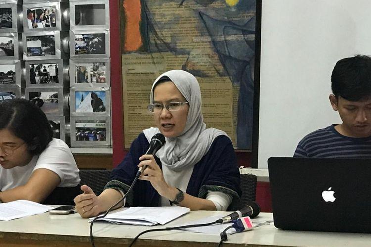 Koordinator Kontras Yati Andriyani saat konferensi pers di Kantor Kontras, Jakarta Pusat, Senin (10/12/2018).
