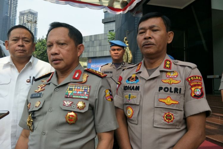 Kapolri Jenderal Tito Karnavian dan Kapolda Metro Jaya Irjen Idham Azis saat ditemui di Gedung Promoter, Mapolda Metro Jaya, Senin (6/8/2018).