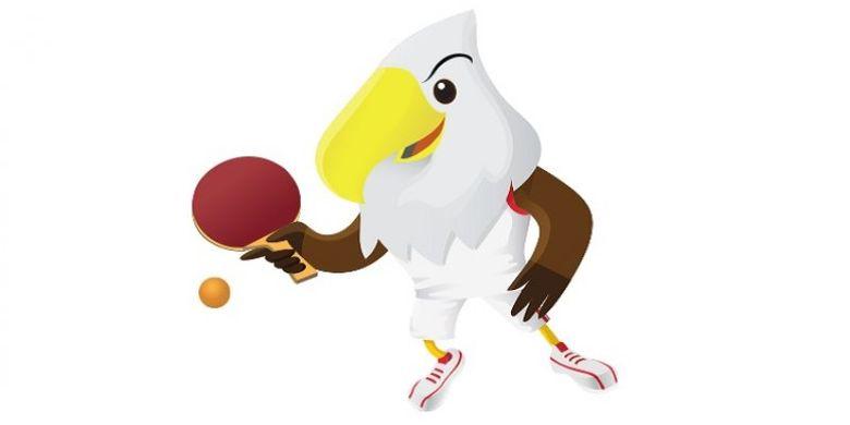 lustrasi maskot Asian Para Games 2018, Momo, untuk cabang olahraga tenis meja.