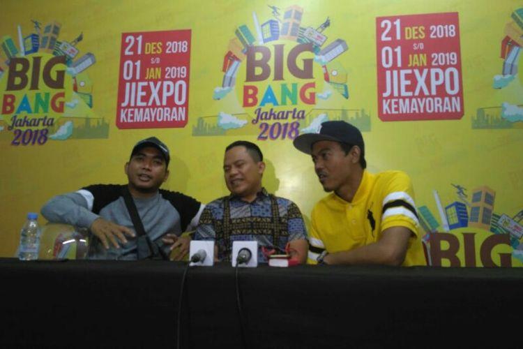 (Dari kiri ke kanan) Para personel band Wali, Tomi, Faank, dan Ovie, ditemui sebelum tampil dalam acara Big Bang Jakarta di JiExpo, Kemayoran, Jakarta Pusat, Sabtu (28/12/2018) malam.