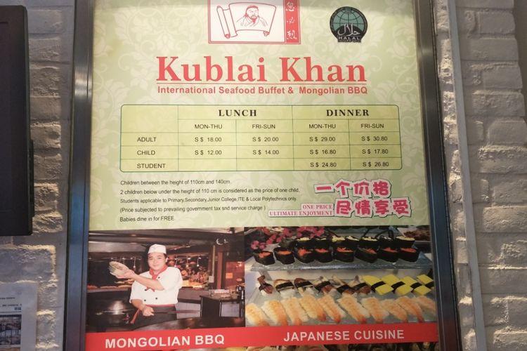 Salah satu restoran di Singapura yang mencantumkan logo halal, Kublai Khan yang menjual masakan Mongolia dan Jepang. Kublai Khan terletak di lantai dua pusat perbelanjaan The Central di Jalan Eu Tong Sen, Singapura.