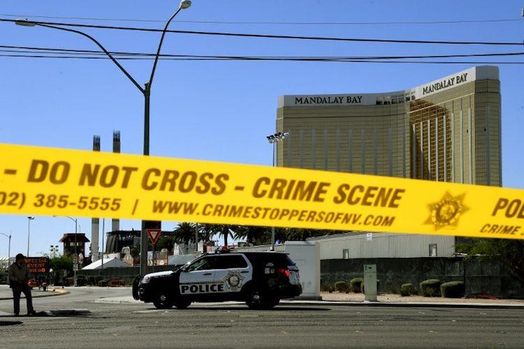 Lokasi kejadian perkara penembakan di Las Vegas di sekitar Mandalay Bay Hotel, Senin (2/10/2017).