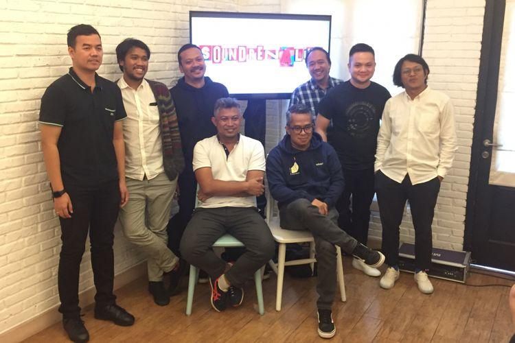 Para inisiator dan pihak penyelenggara Soundrenaline 2018 dalam bincang-bincang dengan media di Gastromaquia, Senopati, Jakarta Selatan, Rabu (25/4/2018).
