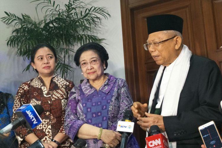 Ketua Umum PDI-P Megawati Soekarnoputri bertemu dengan cawapres nomor urut 01 Maruf Amin di kediamannya, Jalan Teuku Umar, Kamis (9/5/2019).