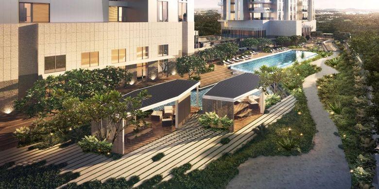 Desain area relaksasi Apartemen Verde Two di CBD Kuningan, Jakarta Selatan.