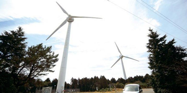 Kincir angin mencapai ketinggian 75 meter.