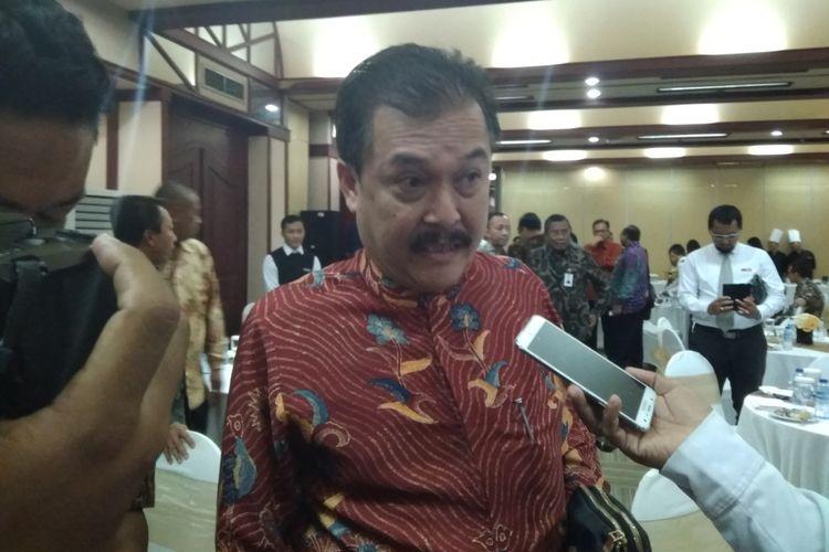 Direktur Utama Perusahaan Umum Jaminan Kredit Indonesia (Perum Jamkrindo) Randi Anto selepas acara Pendandatanganan Perjanjian Kerjasama Asuransi dan Penjaminan Perkreditan di Kementerian BUMN, Senin (16/4/2018).
