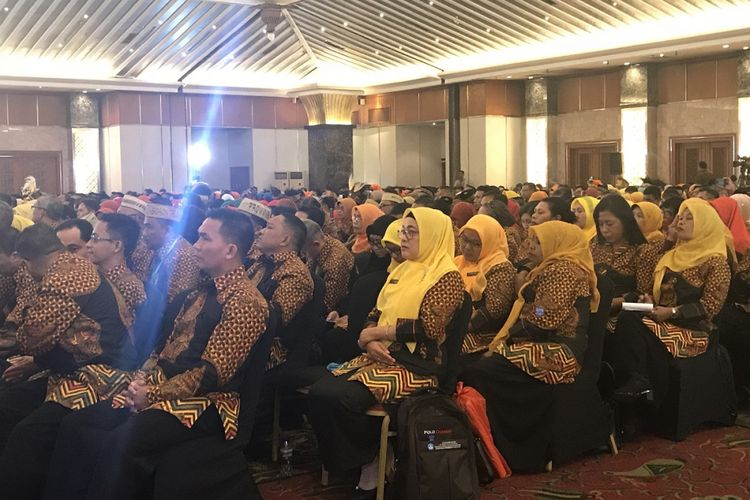 Pembukaan acara Pemilihan Guru dan Tenaga Kependidikan Berprestasi dan Berdedikasi di Hotel Sahid Jakarta, Minggu (12/8/2018)