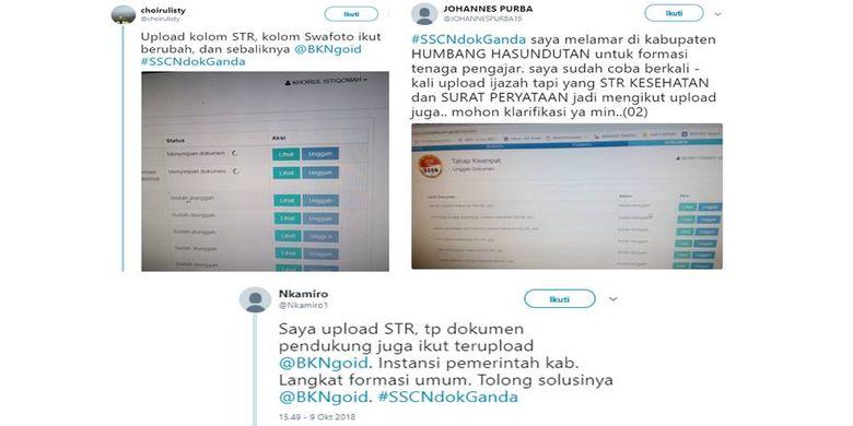 Tangkapan layar warganet yang menanyakan tentang dokumen ganda