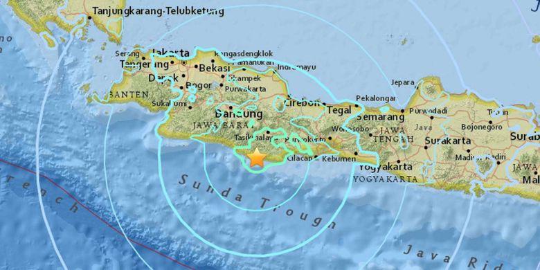 Titik pusat gempa yang terjadi pada Jumat (15/12/2017) malam.