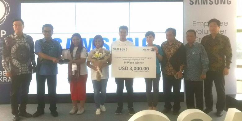 Tiga calon pengusaha rintisan atau start up Indonesia pada seleksi final Global Startup Acceleration Program (GSAP) di Kampus Universitas Gadjah Mada, Jumat (27/7/2018).