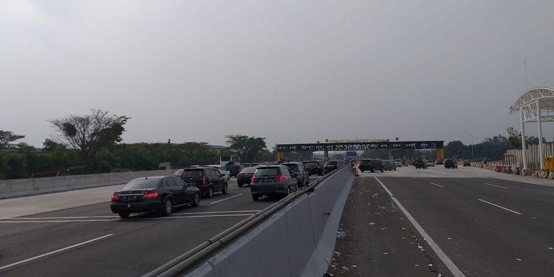 Kondisi lalu lintas di Tol Jakarta-Cikampek pagi ini, Senin (3/6/2019).