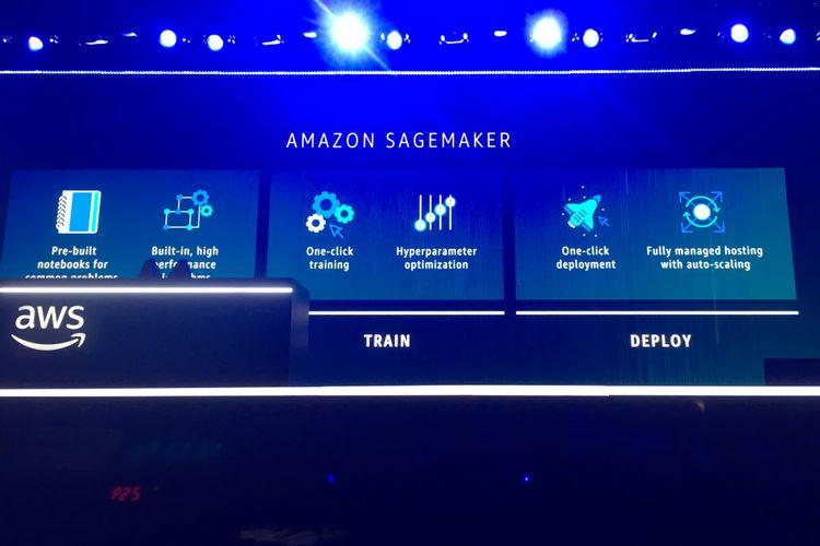 Rincian kemampuan Amazon SageMaker saat pengumuman peluncurannya di panggung utama AWS re: Invent 2017, di Las Vegas, Amerika Serikat, Rabu (29/11/2017) waktu setempat.