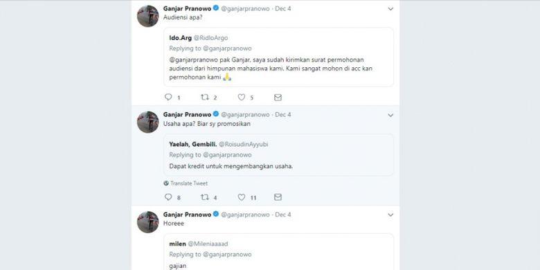 Aktivitas Gubernur Jawa Tengah Ganjar Pranowo dalam menjawab pertanyaan warga di media sosial Twitter.