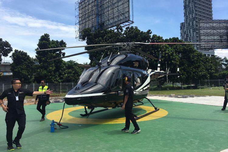 PT Whitesky Aviation meluncurkan helikopter yang bisa menjadi moda transportasi antar kota yakni Helicity, di Wisma Aldiron, Pancoran, Jakarta Selatan, Senin (4/12/2017).